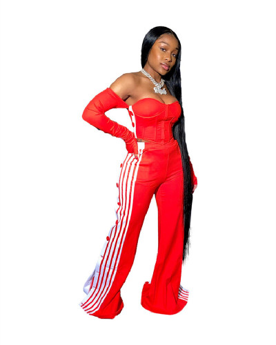Red Nightclub Sexy One Shoulder Top + Pants Split Button Two Piece Set