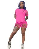 Pink INS hollow and cool design solid color burnt sports suit two-piece set