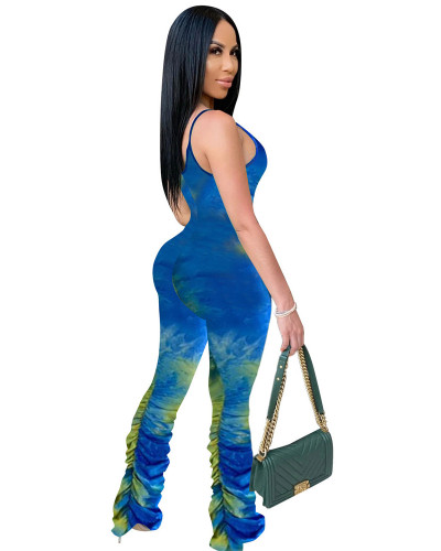 Blue Colorful Print Pleated Suspenders Jumpsuit