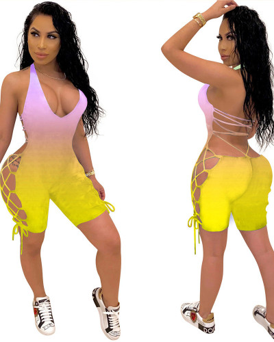 Yellow 2020 INS Fashion Sexy Women Gradient Printed Personality Bandage Halter Jumpsuit