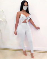 White Sexy solid color lace-up sleeveless high elasticity pit strip jumpsuit
