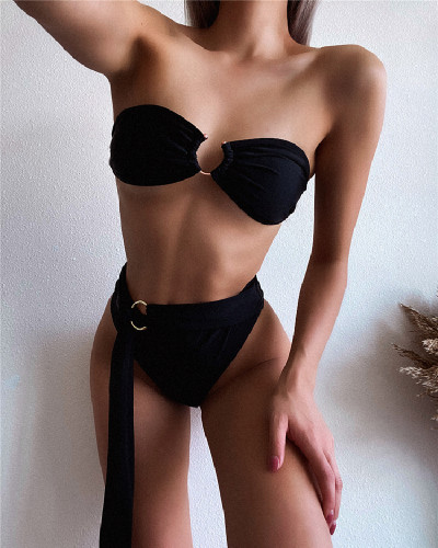 Black Split swimsuit tube top bikini