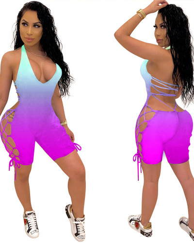 Violet 2020 INS Fashion Sexy Women Gradient Printed Personality Bandage Halter Jumpsuit