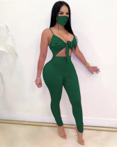 Green Sexy solid color lace-up sleeveless high elasticity pit strip jumpsuit