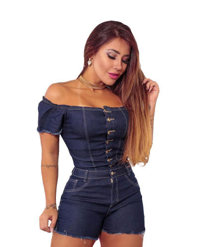 New Euro-American fashion women's tube top straight shoulder slim slimming jeans jumpsuit