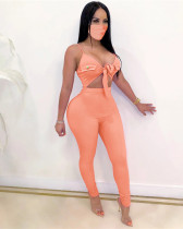 Light orange Sexy solid color lace-up sleeveless high elasticity pit strip jumpsuit