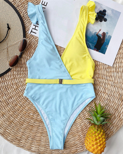 Knitted high waist swimsuit ladies split swimsuit