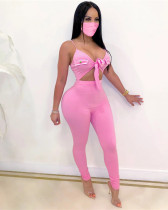 Pink Sexy solid color lace-up sleeveless high elasticity pit strip jumpsuit