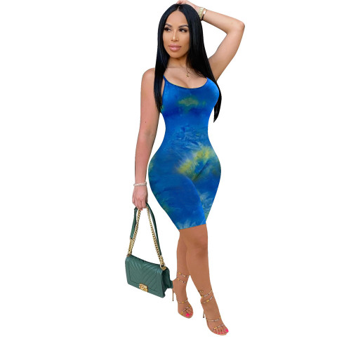 Blue European and American new women's color printed jumpsuit suspenders