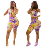 Yellow  INS stylish leisure multi-color printing Slim sports beach leisure two-piece suit
