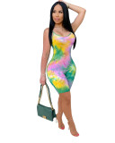 Green European and American new women's color printed jumpsuit suspenders