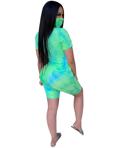 Green INS regular customers who wear tie-dye round neck casual fashion home sports shorts suit (including mask)
