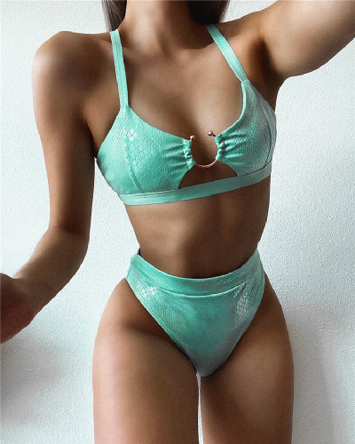 Green Split swimsuit bronzing bikini