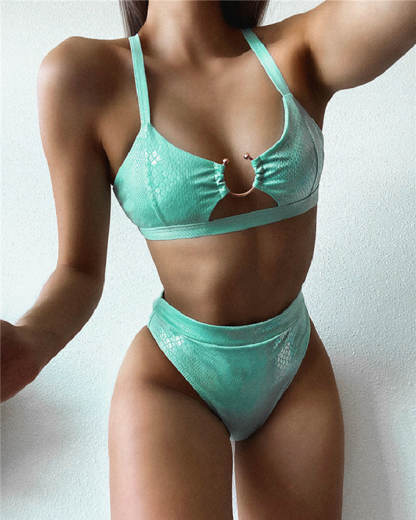 Green Split swimsuit bronzing bikini