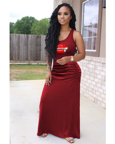 Claret Casual solid color pleated zipper lips 4 color big swing dress