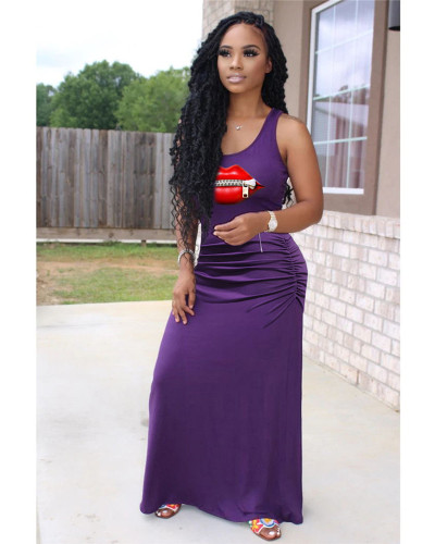 Violet Casual solid color pleated zipper lips 4 color big swing dress