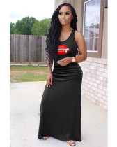 Black Casual solid color pleated zipper lips 4 color big swing dress