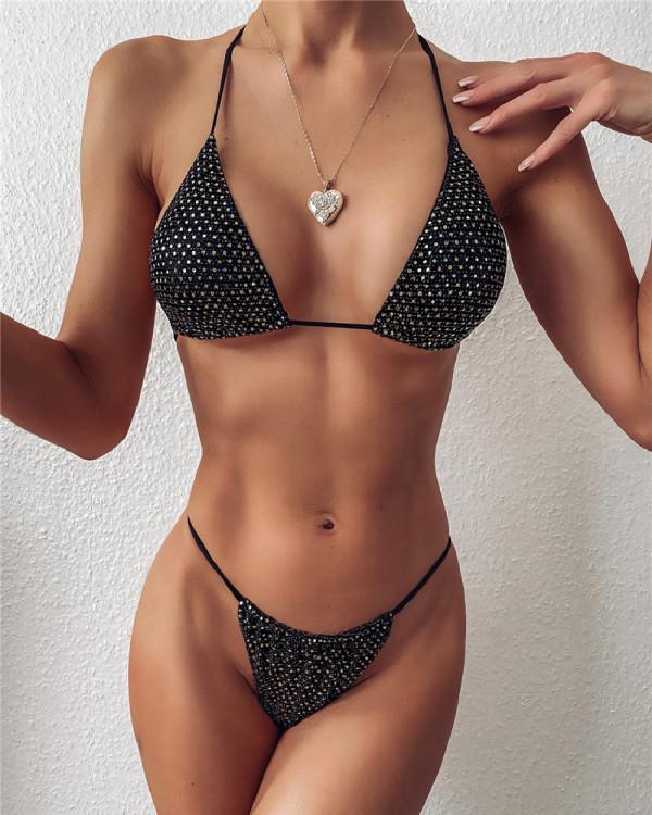 Women's split swimsuit triangle bikini