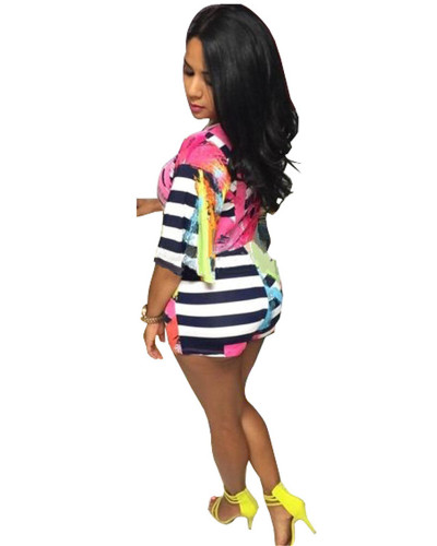 INS model sexy colorful deep V nightclub printed jumpsuit