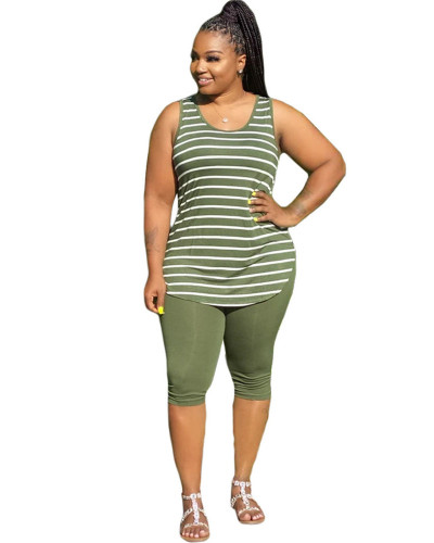 Army Green INS large size trendy fashion striped vest five-point pants two-piece suit