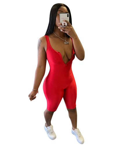 Red Sexy chest zipper solid color tight pants