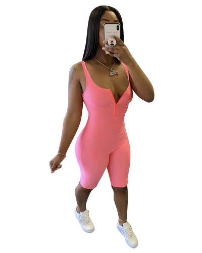 Pink Sexy chest zipper solid color tight pants