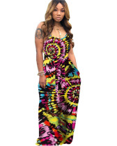 Black tie-dye colorful print hanging band loose dress