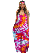 Rosy tie-dye colorful print hanging band loose dress