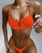 Red Solid color swimsuit