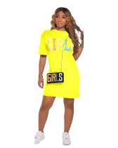 Yellow 2020 summer fashion casual solid color letters GIRLS printed dress