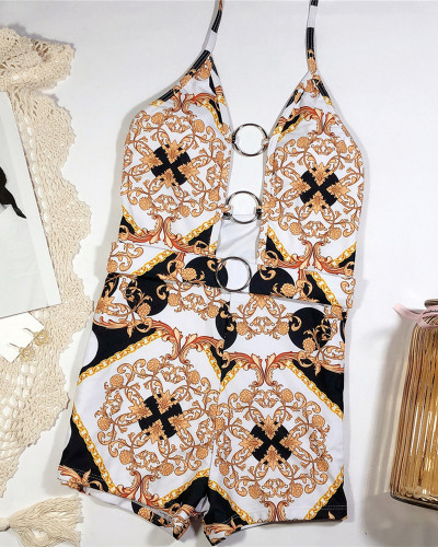 Swimsuit with printed cutout straps