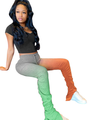 Green Gradient color hip buttocks slim fold split 5 colors on both sides micro flared pants