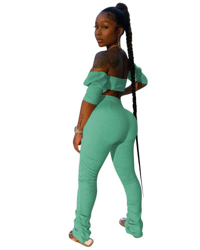 Light green INS trendy favorite tube top pleated trousers two piece set