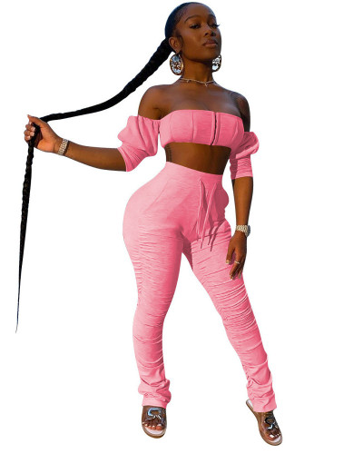 Pink  INS trendy favorite tube top pleated trousers two piece set