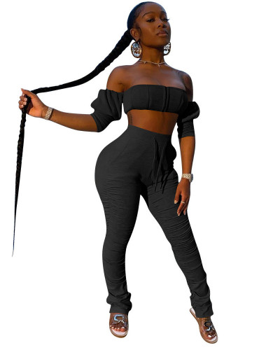 Black  INS trendy favorite tube top pleated trousers two piece set