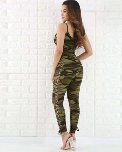Sexy tight camouflage sleeveless jumpsuit