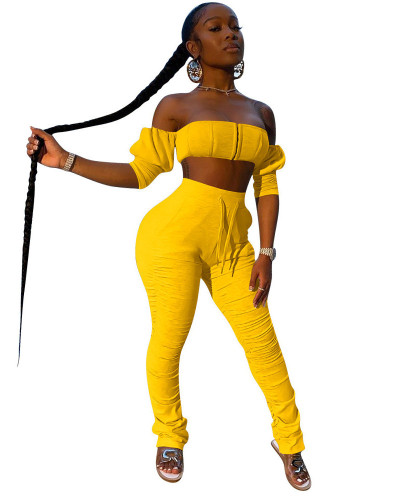 Yellow INS trendy favorite tube top pleated trousers two piece set
