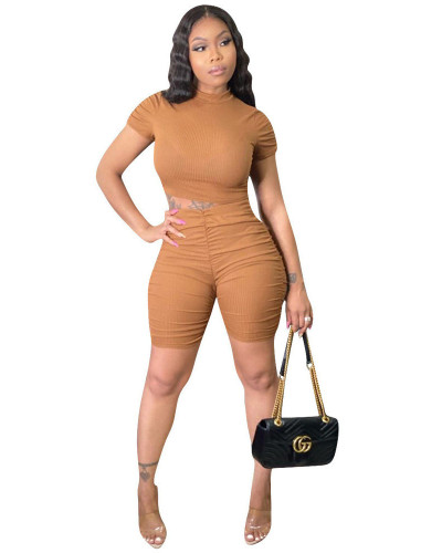 Khaki INS pit strip fold solid color sports leisure European and American women's two-piece suit