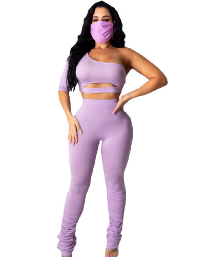 Purple Solid color knitted pull-up pants one-shoulder sweater slim two-piece suit
