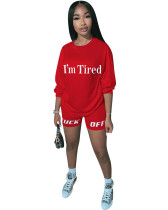 Red Two-piece casual set