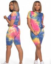 Deep blue pink Tie-dye short sleeve T-shirt shorts two piece set