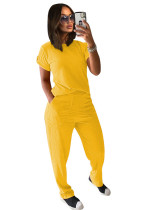 Yellow Solid color knitted short-sleeved trousers casual two-piece suit