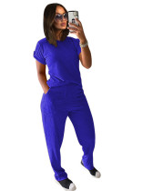 Blue Solid color knitted short-sleeved trousers casual two-piece suit