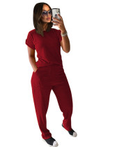 Red Solid color knitted short-sleeved trousers casual two-piece suit