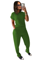 Green Solid color knitted short-sleeved trousers casual two-piece suit