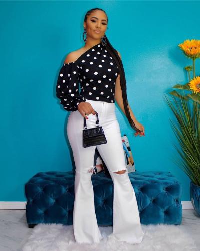 Black Digital printed polka dot oblique shoulder single sleeve puff sleeve top