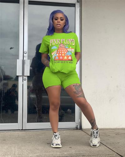 Light Green Multicolor spot printing suit