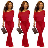 Red Fashionable casual solid color bat sleeve jumpsuit