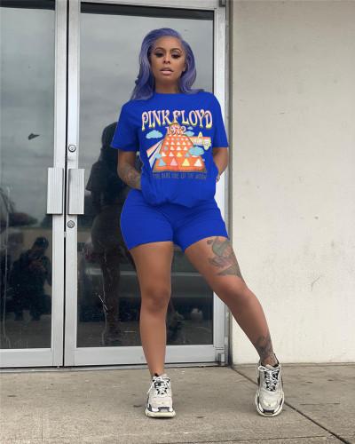 Blue Multicolor spot printing suit