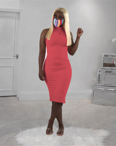 Solid color turtleneck sleeveless dress